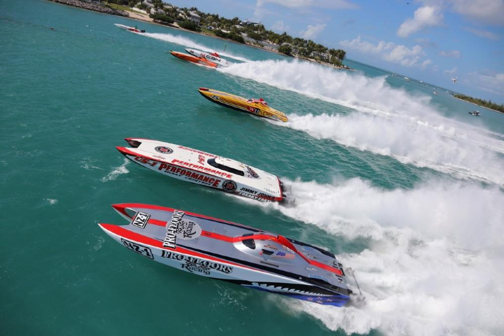 Boats in action Key West Race World Offshore 2019